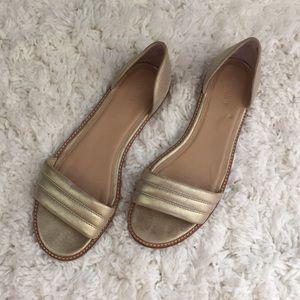 J Crew Hayes Metallic Gold Suede Sandals Flats 9